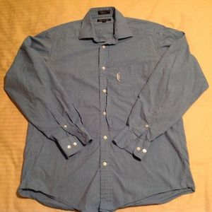 Faconnable Men's Long Sleeve Blue/White Stripe EUC